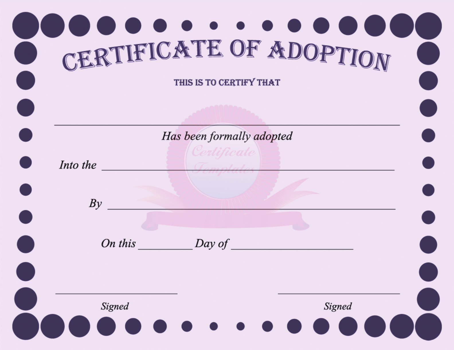 Download Adoption Certificate For Free Tidytemplates