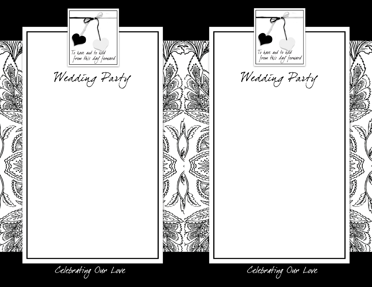 Black & White Flat Wedding Program Doc Download