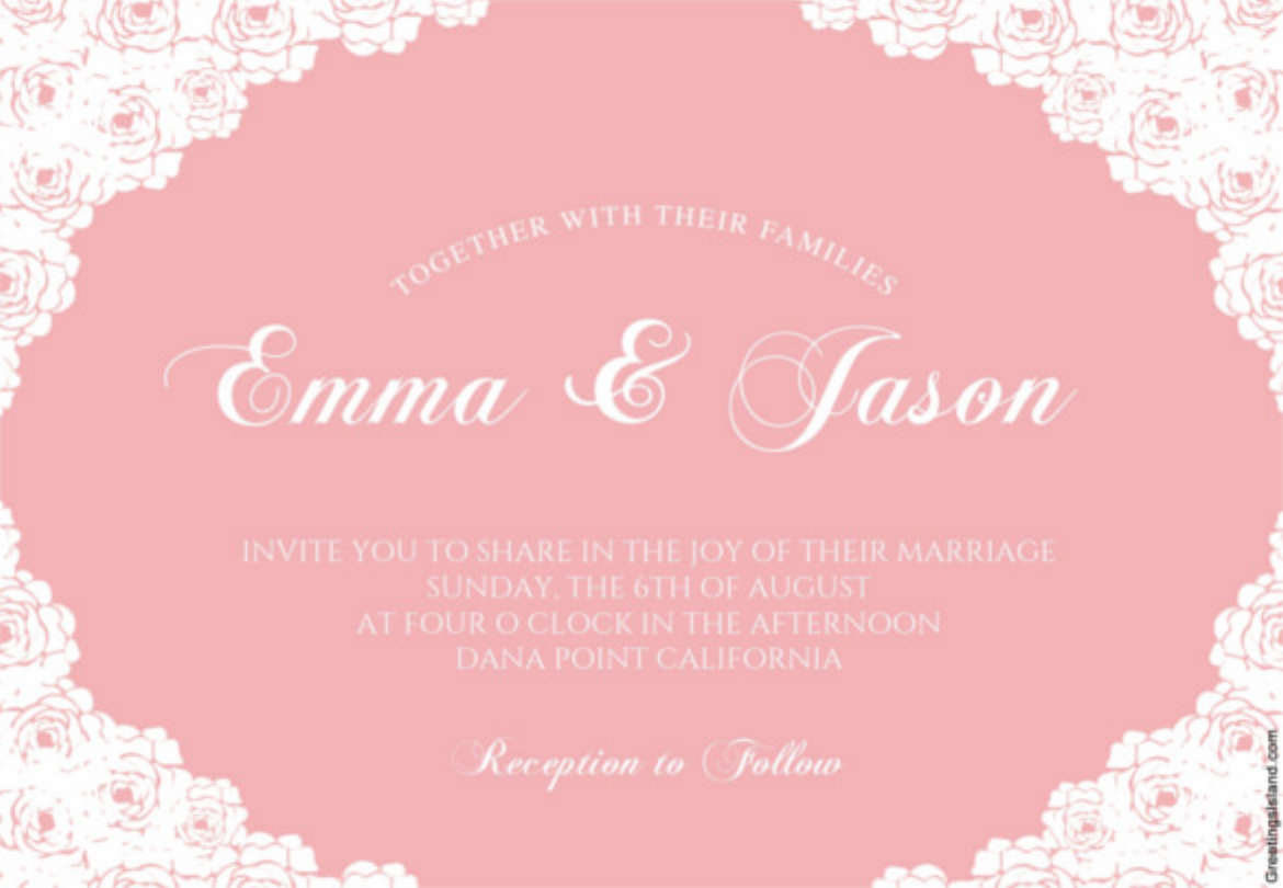 Rose Lace Corners - Printable Wedding Invitation Template Download