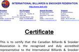 Snooker Certificate Templates