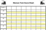 Mexican Train Score Sheet