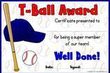 T-Ball Certificates