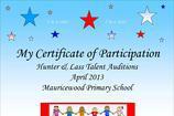 Talent Show Certificate