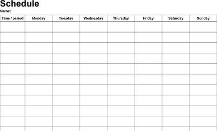 monday through sunday schedule template monday through sunday