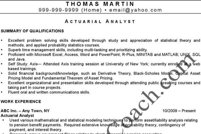 4  actuarial resume templates free download