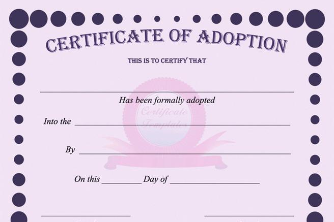 3 Adoption Certificate Free Download