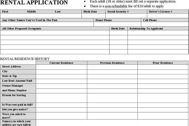 download rental application templates for free tidytemplates. Black Bedroom Furniture Sets. Home Design Ideas