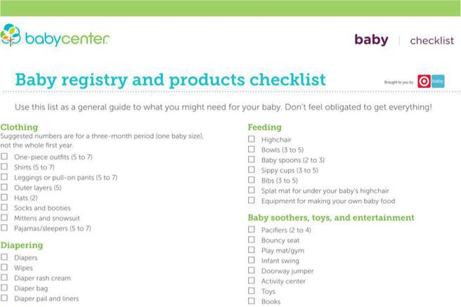 5 sample baby boy registry checklists free download