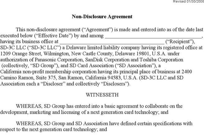 9  non disclosure agreement form free download