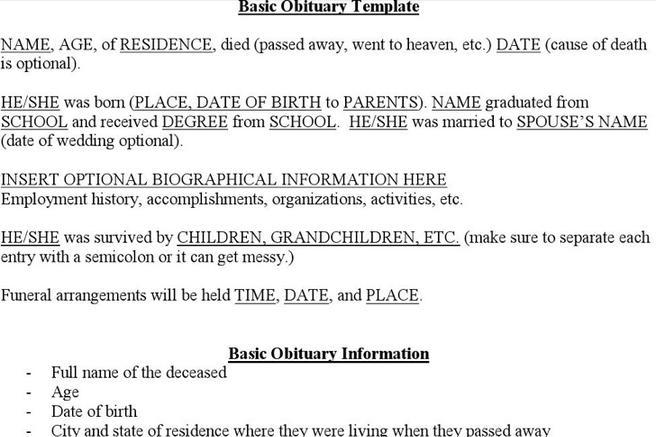11  obituary writing template free download