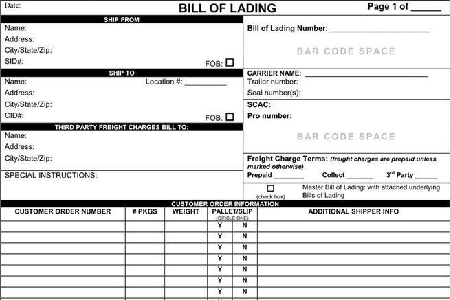 5  bill of lading form free download