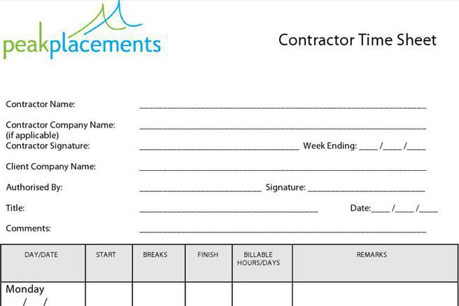 10  contractor timesheet templates free download