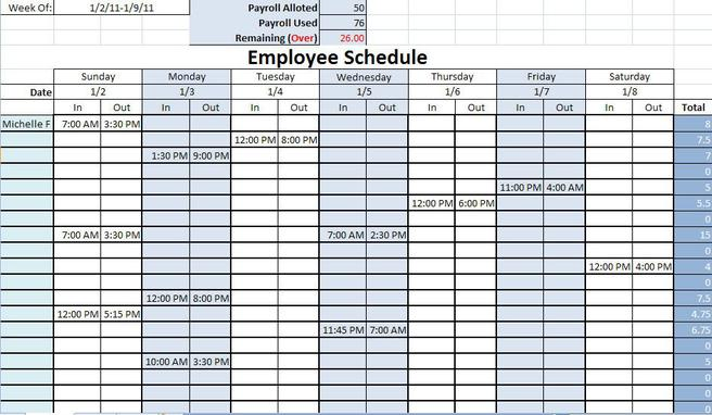 6  blank work schedule template free download
