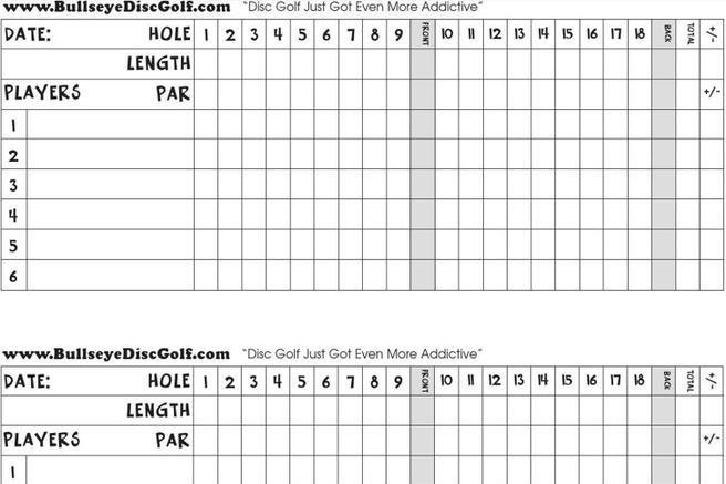 Crazy image in printable golf scorecard