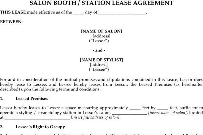 3 Booth Rental Agreement Free Download
