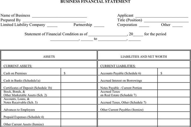 38 financial statement form free download