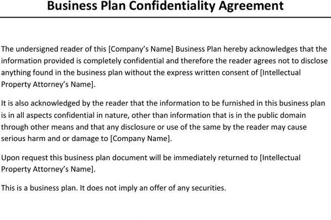 confidentiality agreement for business plan
