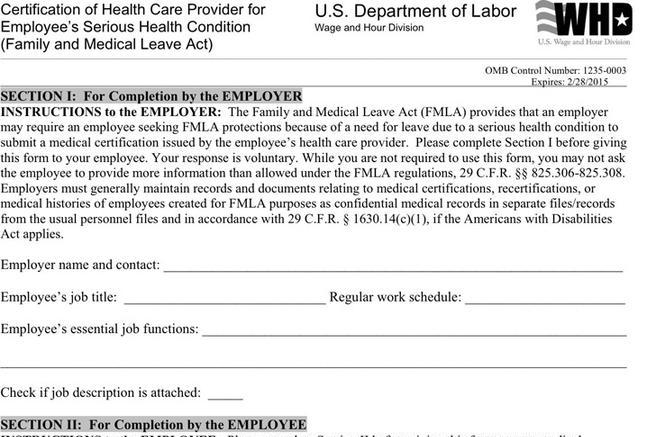 fmla form serious condition care provider employees certification