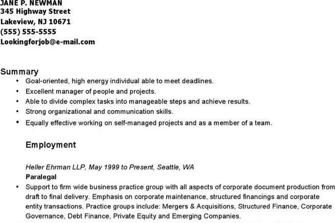 Download Paralegal Resume Templates for Free - TidyTemplates