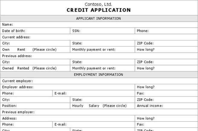 Download credit application form for free tidytemplates altavistaventures Choice Image
