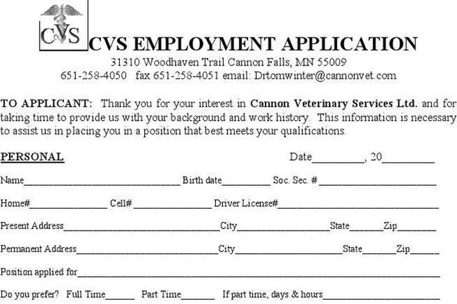 1  cvs job application form free download