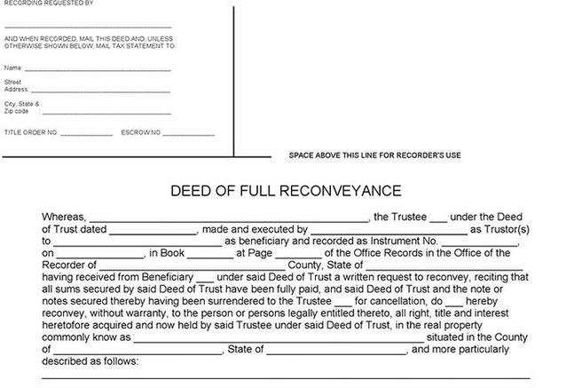 3 deed of reconveyance form free download for Deed of conveyance template
