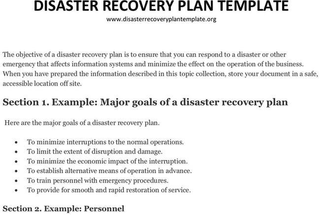 3+ Disaster Recovery Plan Template Free Download