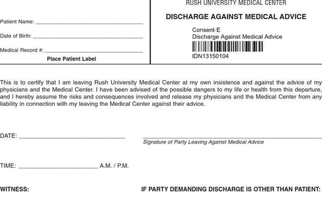 3 Against Medical Advice Form Free Download