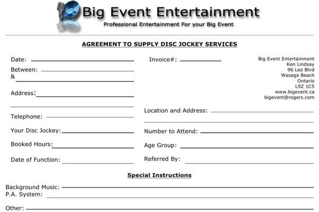 Dj Invoice Templates Free Download - Invoice template for dj services