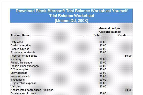6 trial balance worksheet templates free download
