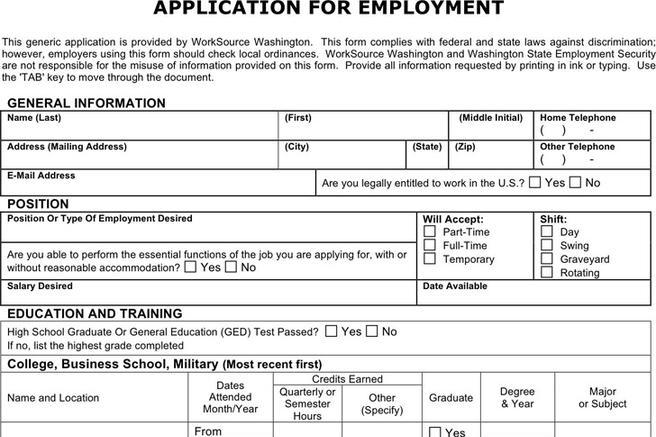 download generic application for employment for free tidytemplates