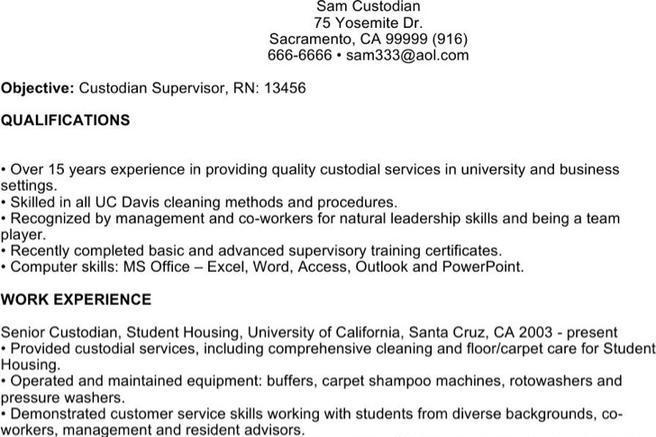6+ Custodian Resume Templates Free Download