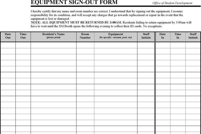 1  equipment sign out sheet free download