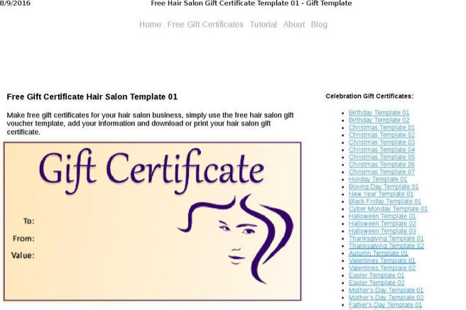 download salon gift certificate templates for free