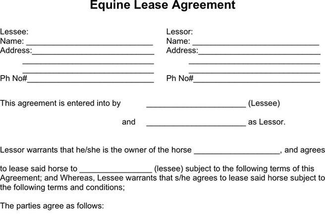 3+ Horse Lease Agreement Free Download