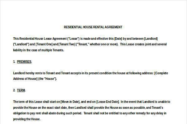 13 House Rental Agreement Templates Free Download