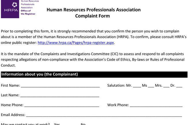 Hr Complaint Form   23 Hr Complaint Forms Free Download