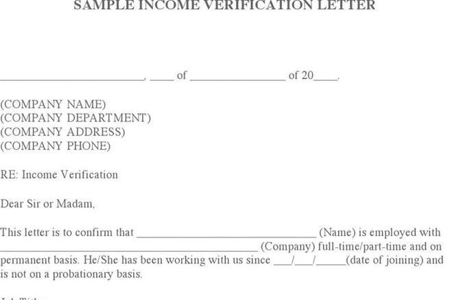 1 Income Verification Letter Sample Free Download