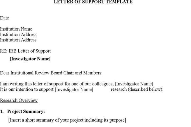 2  letter of support template free download