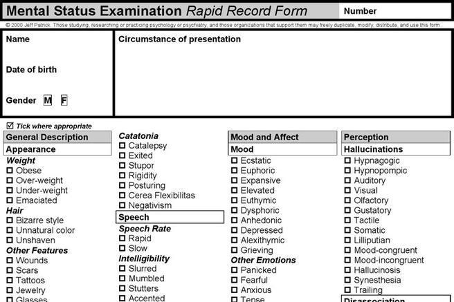 2+ Mental Status Exam Template Free Download