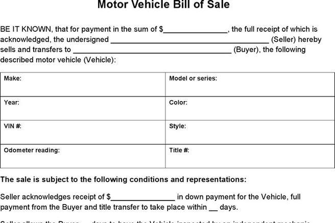 vehicle bill of sale as is
