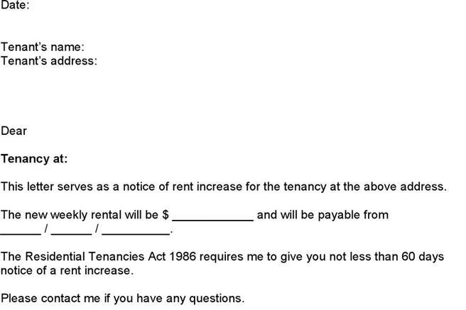 rental increase notice template