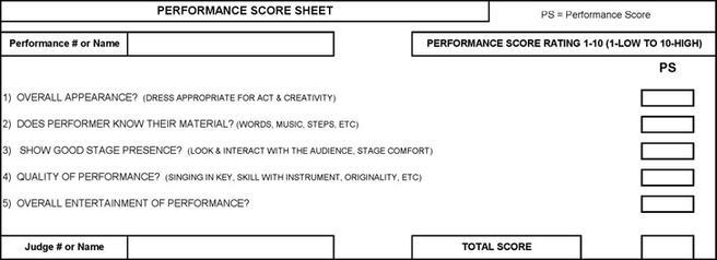 Canasta Score Sheet · Talent Show Score Sheet