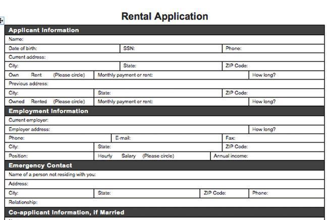 6 Rental Application Form Free Download