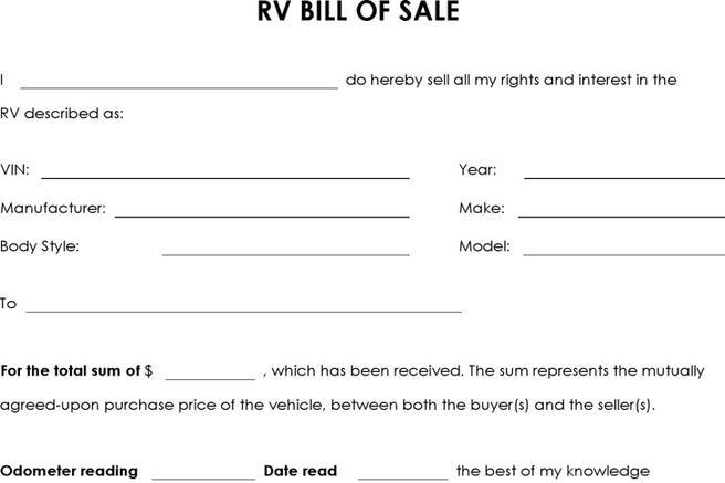 download recreational vehicle rv bill of sale for free tidytemplates