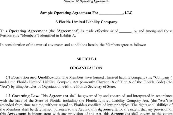 Download Llc Operating Agreement For Free Tidytemplates