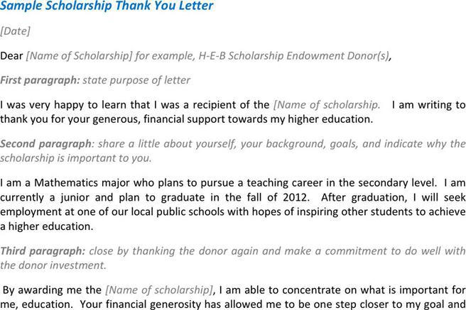 3 scholarship thank you letter free download