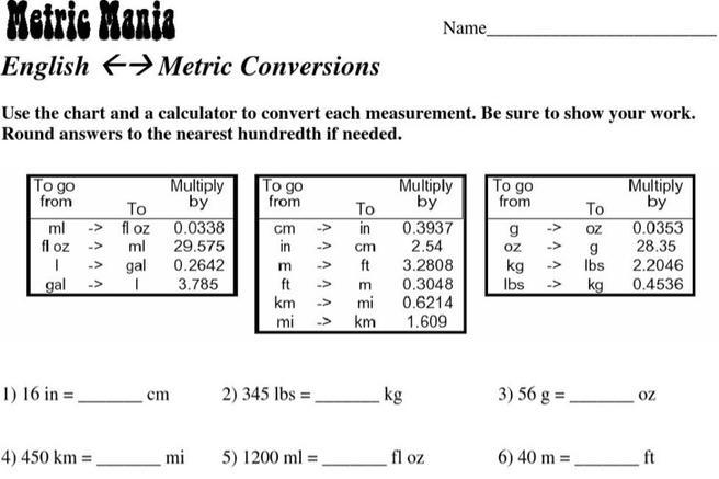 8  sample simple metric conversion chart templates free