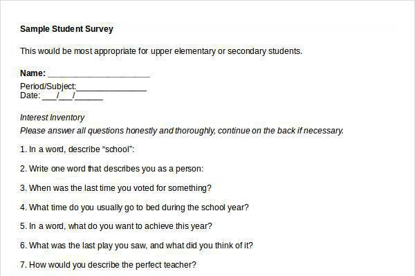 15+ Student Survey Template Free Download