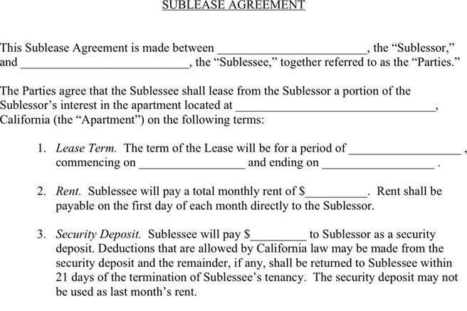 3 Sublease Agreement Free Download